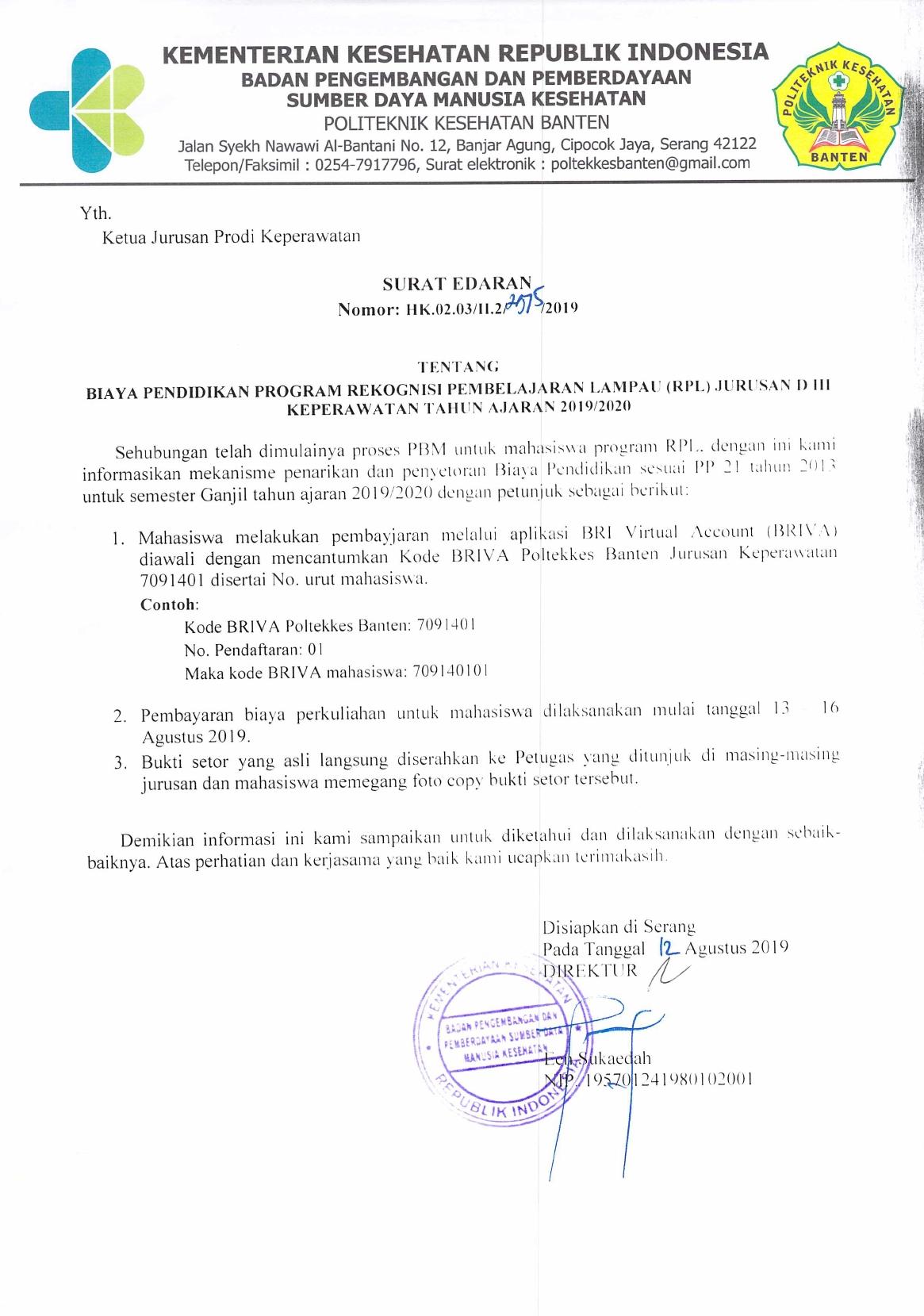 Surat Edaran Biaya Pendidikan D3 Keperawatan Kelas Rpl Ta
